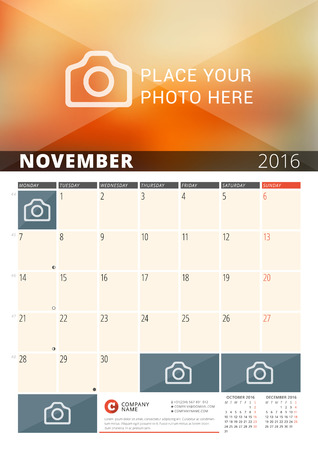 months of the year: Wall Calendar Planner for 2016 Year. Vector Design Print Template with Place for Photos and Notes. Week Starts Monday. 3 Months on Page. November 2016