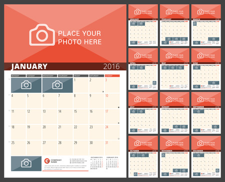 months of the year: Wall Calendar Planner for 2016 Year. Vector Design Print Template with Place for Photos and Notes. Week Starts Monday. 3 Months on Page. Set of 12 Months