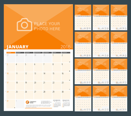 months: Wall Calendar Planner for 2016 Year. Vector Design Print Template with Place for Photo and Notes. Week Starts Sunday. 3 Months on Page. Set of 12 Months