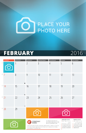 meses del año: Wall Calendar Planner for 2016 Year. Design Print Template with Place for Photos and Notes. Week Starts Sunday. 3 Months on Page. February