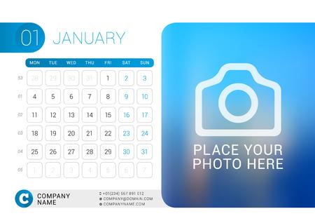 desk calendar: Desk Calendar for 2016 Year. January.