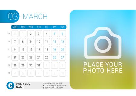 desk calendar: Desk Calendar for 2016 Year. March.  Illustration
