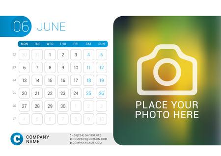 desk calendar: Desk Calendar for 2016 Year. June.  Illustration