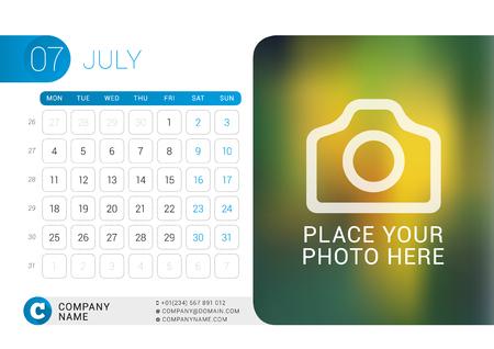 desk calendar: Desk Calendar for 2016 Year. July.