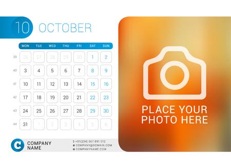 october: Desk Calendar for 2016 Year. October.
