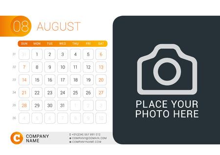 desk calendar: Desk Calendar for 2016 Year. August. Illustration