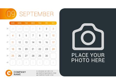 desk calendar: Desk Calendar for 2016 Year. September.