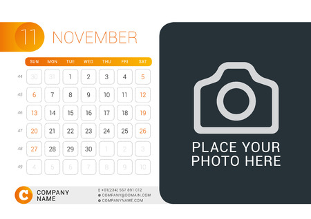 contact information: Desk Calendar for 2016 Year. November. Vector Design Print Template with Place for Photo, Logo and Contact Information. Week Starts Sunday. Calendar Grid with Week Numbers