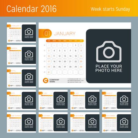 desk calendar: Desk Calendar for 2016 Year.  Illustration