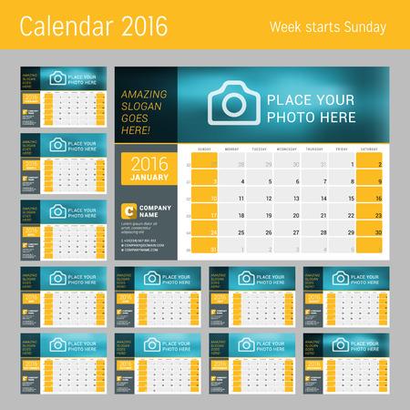 week: Calendar for 2016 Year. Vector Design Print Template. Week Starts Sunday. Calendar Grid with Week Numbers. Set of 12 Months