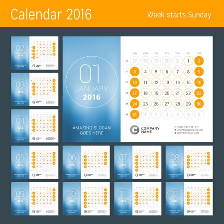 meses del año: Calendario para el 2016 Año. Diseño del vector plantilla de impresión. La semana comienza el domingo. Rejilla calendario con números de semana. Conjunto de 12 Meses Vectores