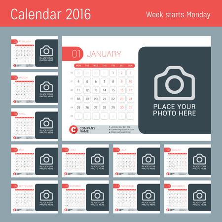 meses del año: Calendario para el 2016 Año. Diseño del vector plantilla del calendario con lugar para la foto. La semana empieza el lunes. Conjunto de 12 Meses.