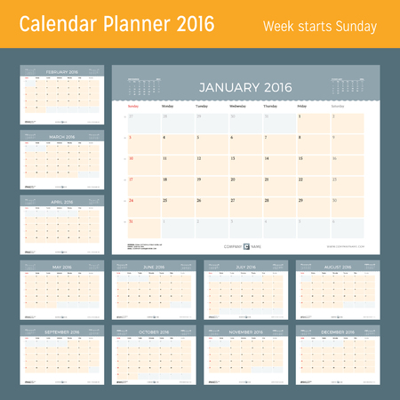 week planner: Calendar Planner for 2016 Year. Vector Design Print Template. Week Starts Sunday. Calendar Grid with Week Numbers and Place for Notes. Set of 12 Months