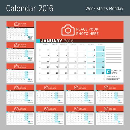 meses del año: Calendario para el 2016 Año. Diseño del vector plantilla del calendario Planificador con lugar para la foto. La semana empieza el lunes. Conjunto de 12 Meses. Vectores