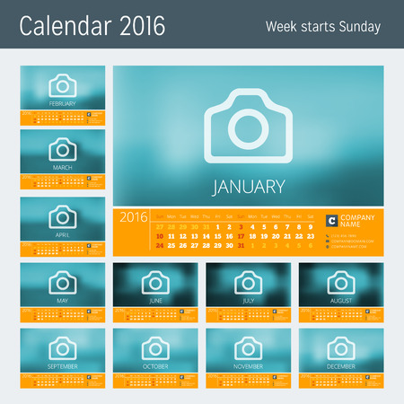 months of the year: Line Calendar for 2016 Year. Vector Design Print Template. Week Starts Sunday. Set of 12 Months