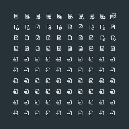 Conjunto de 100 iconos de documento. Extensión de archivo. Tipos de archivo. Operaciones con Documentos