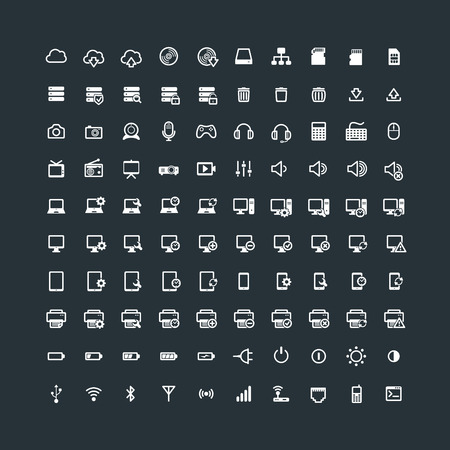 multimedia icons: Set of 100 Technology Icons. Electronic devices. Computer. Multimedia