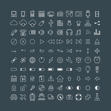 multimedia icons: Set of Simple Vector Line Icons. Electronic Devices, Multimedia, Battery, Transportation
