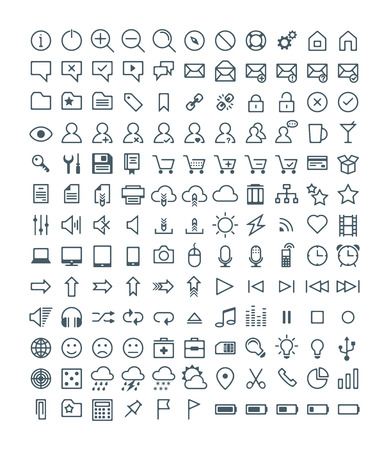multimedia icons: Set of Simple Vector Line Icons. Electronic Devices, Multimedia, Battery, Mail, Shopping, Cloud Storage