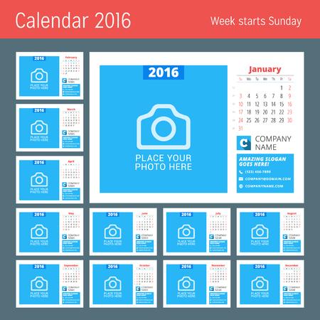 meses del año: Plantilla Calendario para el 2016 Año. Diseño del vector plantilla del calendario con lugar para la foto. La semana comienza el domingo. Conjunto de 12 Meses