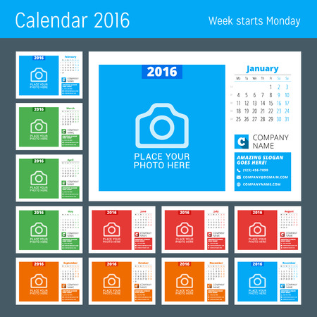months of the year: Calendar Template for 2016 Year. Vector Design Calendar Template with Place for Photo. Week Starts Monday. Set of 12 Months