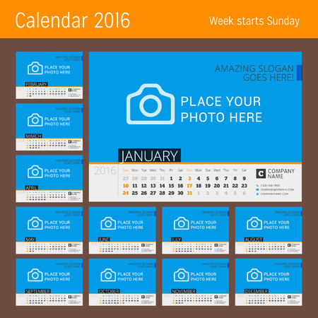 meses del a�o: Calendar Template for 2016 Year. Vector Design Calendar Template with Place for Photo. Week Starts Sunday. Set of 12 Months