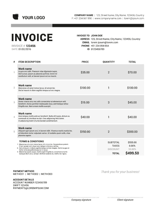 payable: Vector Invoice Form Template Design. Vector Illustration. Grayscale Color