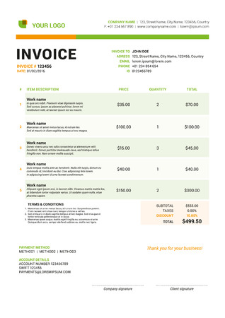 payable: Vector Invoice Form Template Design. Vector Illustration. Green and Orange color Theme