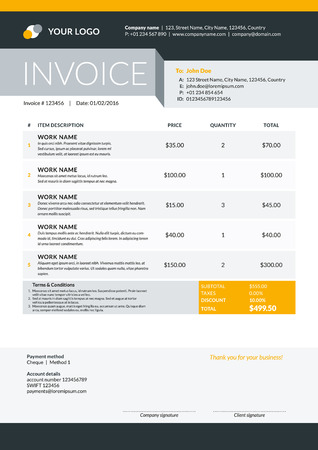 Accountant: Vector Invoice Form Template Design. Vector Illustration. Black and yellow Color Theme