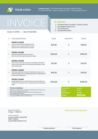 accounts payable: Vector Invoice Form Template Design. Vector Illustration. Green and Gray Color Theme