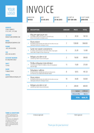 accounts payable: Vector Invoice Form Template Design. Vector Illustration. Blue and Gray Color Theme