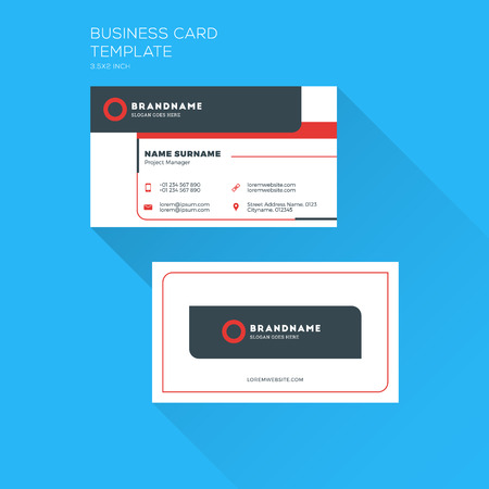 print template: Corporate Business Card Print Template. Personal Visiting Card with company. Clean Flat Design. Vector Illustration Illustration