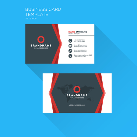 Corporate Business Card Print Template Personal Visiting With Company Clean Flat Design