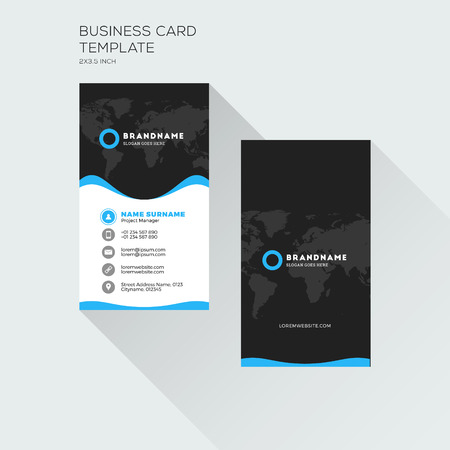blue card: Vertical Business Card Print Template. Personal Visiting Card with company. Black and Blue Colors. Clean Flat Design. Vector Illustration