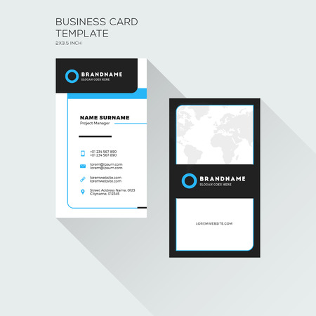 Vertical Business Card Print Template. Personal Visiting Card. Black and Blue Colors. Clean Flat Design. Vector Illustration Иллюстрация