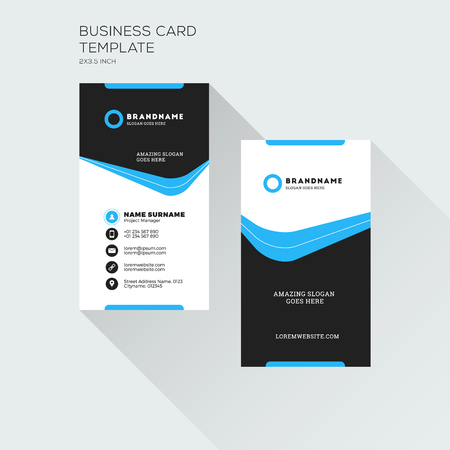 Vertical Business Card Print Template. Personal Visiting Card. Black and Blue Colors. Clean Flat Design. Vector Illustration 向量圖像