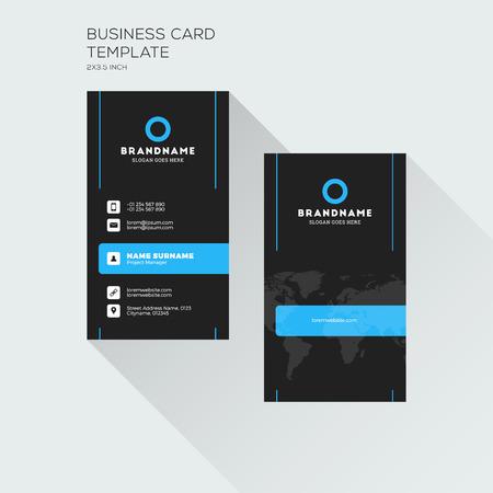 세로 명함 인쇄 템플릿입니다. 회사 로고가있는 개인 방문 카드. 검정 및 파랑 색상입니다. 깨끗한 평면 디자인. 벡터 일러스트 레이션