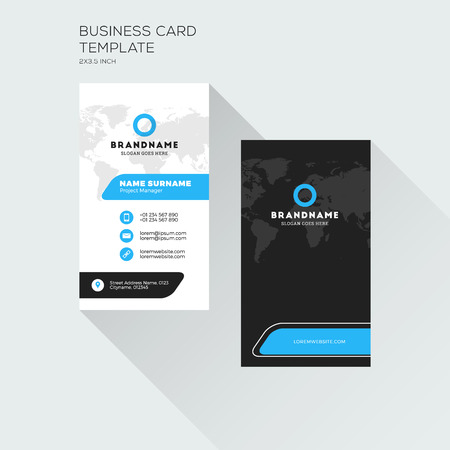 Vertical business card print template personal visiting card vector vertical business card print template personal visiting card black and blue colors clean flat design vector illustration fbccfo Gallery