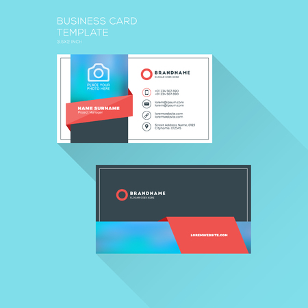 surname: Corporate Business Card Print Template. Personal Visiting Card with Company . Clean Flat Design. Illustration