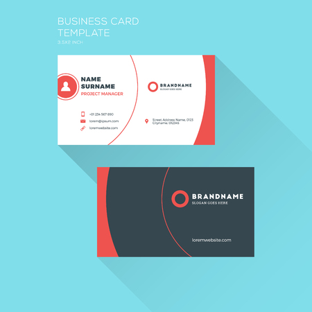 Corporate Business Card Print Template. Personal Visiting Card with Company . Clean Flat Design. Illustration