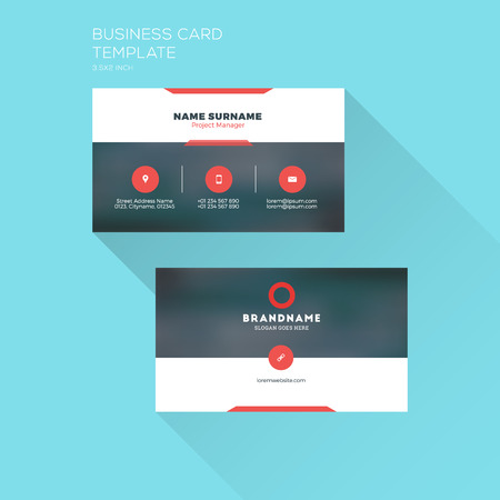 surname: Corporate Business Card Print Template. Personal Visiting Card with Company Logo. Clean Flat Design. Illustration