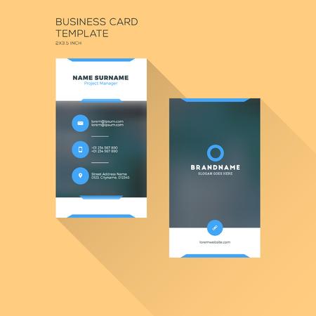 Szablon wydruku Vertical Business Card. Wizytówki z firmą. Czarno-niebieski kolor. Czyste płaska. Ilustracja