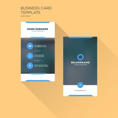 visits: Vertical Business Card Print Template. Personal Business Card with Company . Black and Blue Colors. Clean Flat Design. Illustration