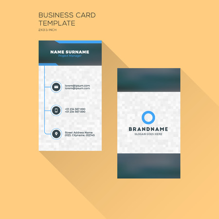 Vertical business card print template personal business card vector vertical business card print template personal business card with company black and blue colors clean flat design illustration wajeb Choice Image
