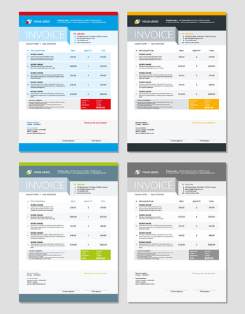 accounts payable: Set of Invoice Design Templates. Stationery Design. Illustration