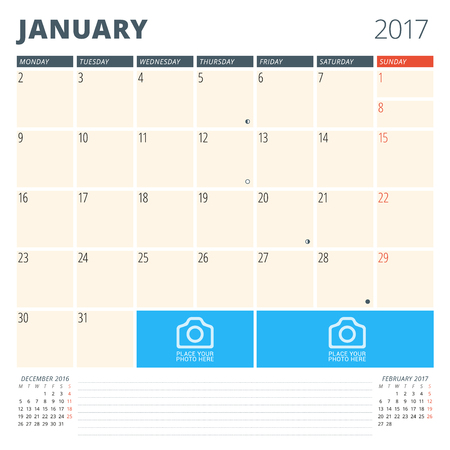 cronologia: Calendar Planner for 2017 Year. Design Template with Place for Photos and Notes. January. Week Starts Monday