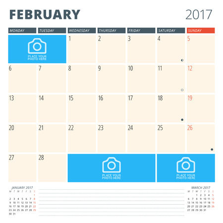 chronology: Calendar Planner for 2017 Year. Design Template with Place for Photos and Notes. February. Week Starts Monday