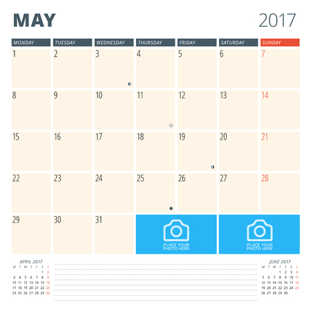 chronology: Calendar Planner for 2017 Year. Design Template with Place for Photos and Notes. May. Week Starts Monday