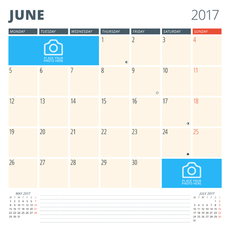 chronology: Calendar Planner for 2017 Year. Design Template with Place for Photos and Notes. June. Week Starts Monday
