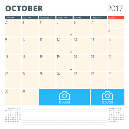 cronologia: Calendar Planner for 2017 Year. Design Template with Place for Photos and Notes. October. Week Starts Monday Vectores